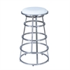 "Armen Living Ringo 26"" Barstool in Brushed Stainless Steel finish with White Pu upholstery"