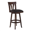 "Salem 26"" Counter Height Swivel Wood Barstool in Pecan Finish and Brown Pu"