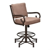 "San Diego 26"" Counter Height Metal Swivel Barstool in Auburn Bay and Brown Fabric"