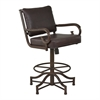 "Armen Living San Diego 26"" Counter Height Metal Swivel Barstool in Auburn Bay and Ford Brown Pu"