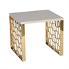 Skyline End Table With White Top, Gold Metal Base