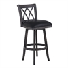 "Armen Living Sonoma 30"" Bar Height Swivel Wood Barstool in Wire Brushed Black Finish and Black Pu"