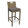 Stewart Outdoor Brown Rattan Patio Barstool with Brown Fabric Cushion