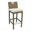 Stewart Outdoor Brown Rattan Patio Barstool with Cream Fabric Cushion