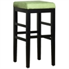 "ARMEN LIVING Sonata 30"" Stationary Barstool in Green Microfiber with Black Legs"