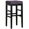 "ARMEN LIVING Sonata 30"" Stationary Barstool in Eggplant Microfiber with Black Legs"