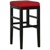 "Sonata 30"" Stationary Barstool in Red Microfiber with Black Legs"