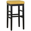 "ARMEN LIVING Sonata 30"" Stationary Barstool in Yellow Microfiber with Black Legs"