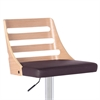 Armen Living Storm Barstool in Chrome finish with Walnut wood and Brown Pu upholstery