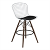 Taylor Wire Barstool in Walnut Wood legs with Chrome and Black Faux Leather Seat Cushion