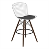 Taylor Wire Barstool in Walnut Wood legs with Chrome and Gray Faux Leather Seat Cushion
