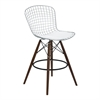 Taylor Wire Barstool in Walnut Wood legs with Chrome and White Faux Leather Seat Cushion