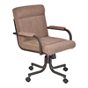Vancouver Caster Tilt Swivel Arm Chair in Auburn Bay Finish and Brown Microfiber