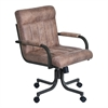 Vancouver Caster Tilt Swivel Arm Chair in Mineral Finish and Bandero Tobacco Fabric