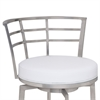 "Armen Living Viper 30"" Barstool in Brushed Stainless Steel finish with White Pu upholstery"