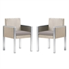 Watercube Outdoor White Rattan Patio Dining Chair with Aluminum Arms and Brown Fabric Cushion - Set of 2
