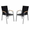 Westport Outdoor Patio Dining Chair in Gray Powder Coated Finish with Teak Wood Accent Arms and Mesh Textilene - Set of 2