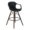 Xavier Arm Barstool in Walnut Wood and Durable Molded Plastic Black Seat