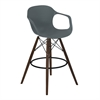 Xavier Arm Barstool in Walnut Wood and Durable Molded Plastic Gray Seat