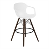 Xavier Arm Barstool in Walnut Wood and Durable Molded Plastic White Seat