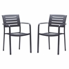 Zander Stackable Outdoor Patio Dining Chair in Brown Finished Cast Aluminum - Set of 2