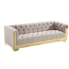 Zinc Contemporary Sofa In Taupe Tweed and Shiny Gold Finish