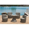 Armen Living Contemporary Corfu Stackable 5-piece Gray Wicker Outdoor Furniture Set