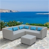Lagoon 4 piece Outdoor Textilene Sectional Set in Taupe with Sky Blue Accent Pillows