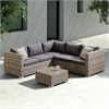 Nina 3 piece Outdoor Rattan Sectional Set with Dark Brown Cushions and Modern Accent Pillows