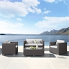 Toronto 4 piece Outdoor Brown Rattan Set with White Cushions and Taupe Accent Pillows