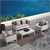 Watercube 4 piece Outdoor White Rattan Set with Taupe Cushions and Accent Pillows