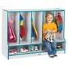 Rainbow Accents Toddler 5 Section Coat Locker with Step -  with Trays - Navy