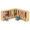 Toddler Corner Coat Locker with Step - with Clear Trays