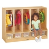 Toddler 5 Section Coat Locker with Step - with Clear Trays