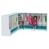 Rainbow Accents Toddler Corner Coat Locker with Step - with Trays - Green