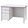 "Berries Teachers' 72"" Desk with 1 Pedestal - Blue"