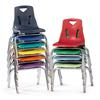 "Stacking Chairs with Chrome-Plated Legs - 14"" Ht - Set of 6 - Orange"