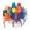"""Stacking Chairs with Chrome-Plated Legs - 12"""" Ht - Set of 6 - Blue"""
