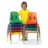 "Stacking Chairs with Powder-Coated Legs - 16"" Ht - Set of 6 - Teal"