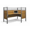 Pro-Biz single Right L-desk workstation in Cappuccino Cherry