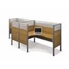 Bestar Pro-Biz Double side-by-side L-desk workstation in Cappuccino Cherry