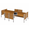 Bestar Pro-Biz Four L-desk workstation in Cappuccino Cherry