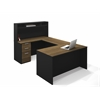 Bestar Pro-Concept U-Shaped Workstation with Small Hutch in Milk Chocolate Bamboo & Black
