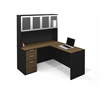 Bestar Pro-Concept L-Shaped Workstation with High Hutch and Assembled Pedestal  in Milk Chocolate Bamboo & Black