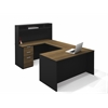 Bestar Pro-Concept U-Shaped Workstation with Small Hutch and Assembled Pedestal in Milk Chocolate Bamboo & Black