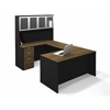 Bestar Pro-Concept U-Shaped Workstation with High Hutch and Assembled Pedestal in Milk Chocolate Bamboo & Black