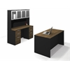 Bestar Pro-Concept Executive Kit with Assembled Pedestals in Milk Chocolate Bamboo & Black
