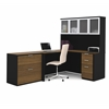 Bestar Pro-Concept L-Shaped Workstation with Lateral File in Milk Chocolate Bamboo & Black