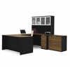 Bestar Pro-Concept U-Shaped Workstation with Lateral File in Milk Chocolate Bamboo & Black