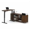Bestar Pro-Linea L-Desk including Electric Height Adjustable Table in Oak Barrel